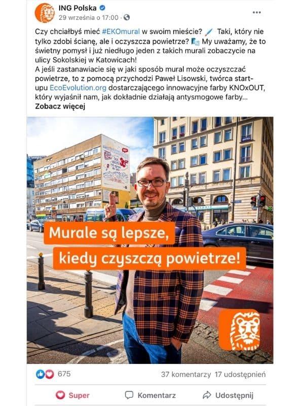 Paweł Lisowski wpis Facebook ING Bank Śląski
